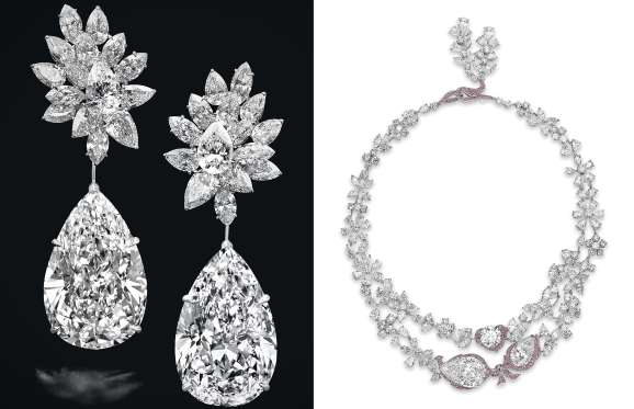 Miroir De Lâ Amour Earrings Hailed As The Worldâ S Largest Perfect Pear Shaped Diamond Drops Ever Weighing 123 43 Carats In An Auction Geneva