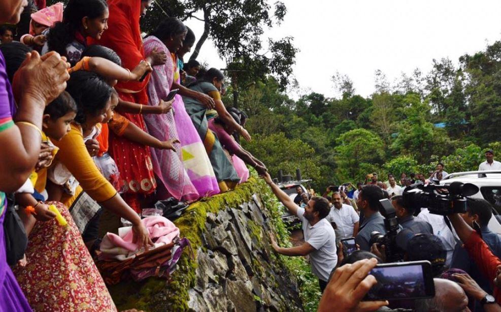 Rahul Gandhi visits relief camps in flood hit Wayanad