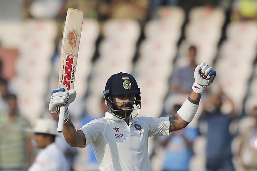 Virat Kohli playing test match against Bangladesh in Hyderabad