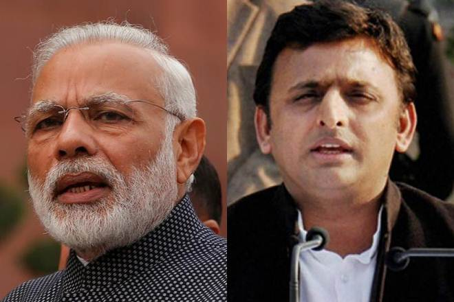 Prime Minister Narendra Modi (left) and Uttar Pradesh Chief Minster Akhilesh Yadav (right)