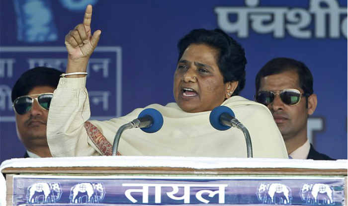 BSP Supremo Mayawati addressing a rally in Kanpur