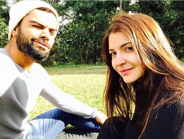 Indian cricketer Virat Kohli  (left) with Bollywood actress Anushka Sharma (Right)