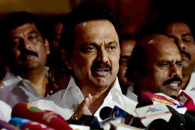 DMK Working President MK Stalin speaking to media after the TN session.