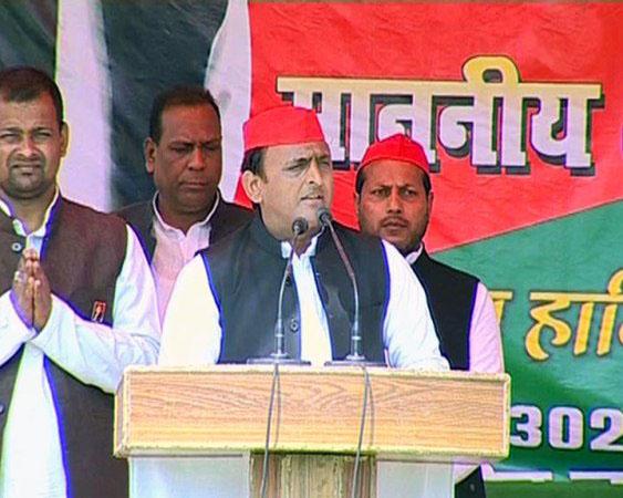 UP CM Akhilesh Yadav addressing rally in Sidharthnagar, Uttar Pradesh