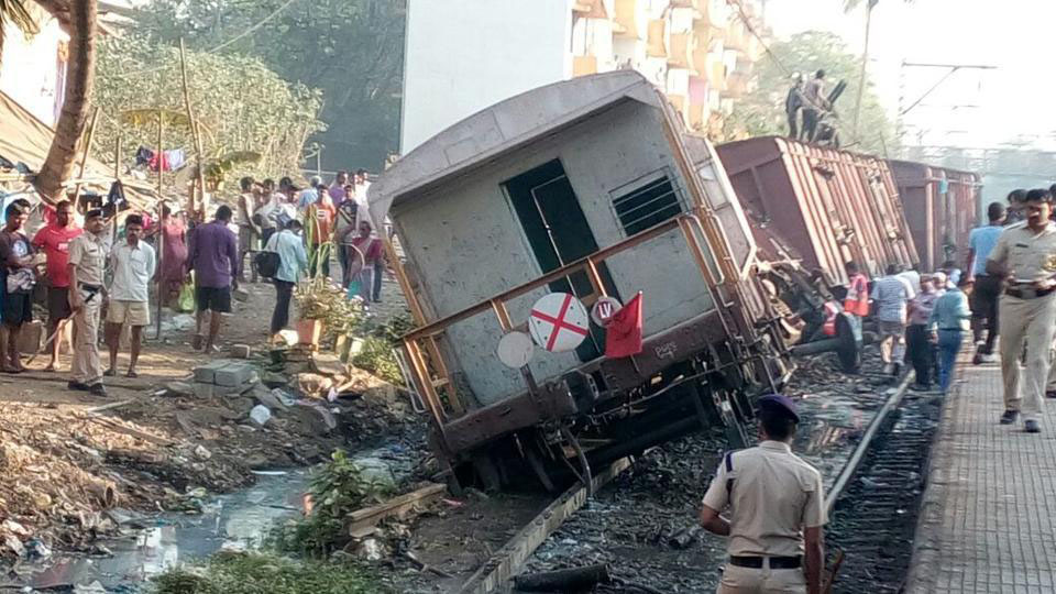 A view of goods train derailed between Ravli and Kurla