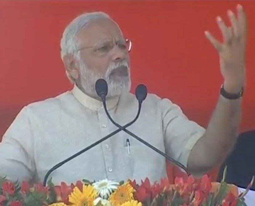 Prime Minister Narendra Modi at the rally in Mau district