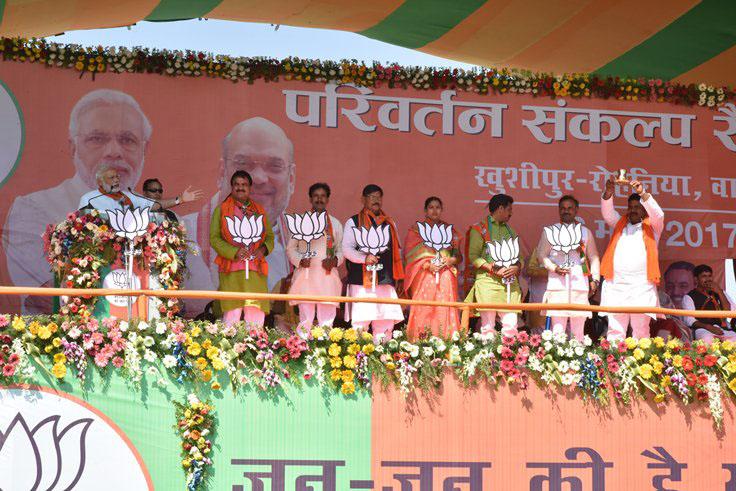 Prime Minister Narendra Modi addressing a rally in Varanasi, Uttar Pradesh