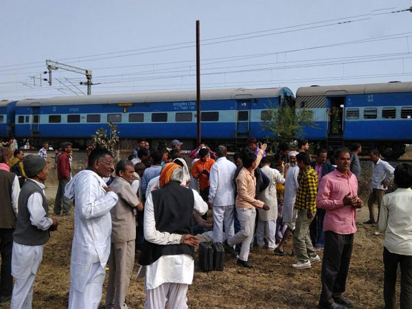 A view of Bhopal-Ujjain passenger train where explosion was take place