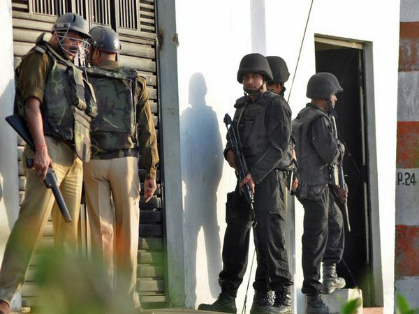 Security forces in an operation at Thakurganj area of Lucknow.