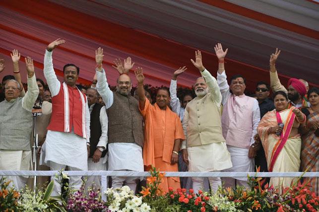 Prime Minister Narendra Modi with UP CM Yogi Adityanath