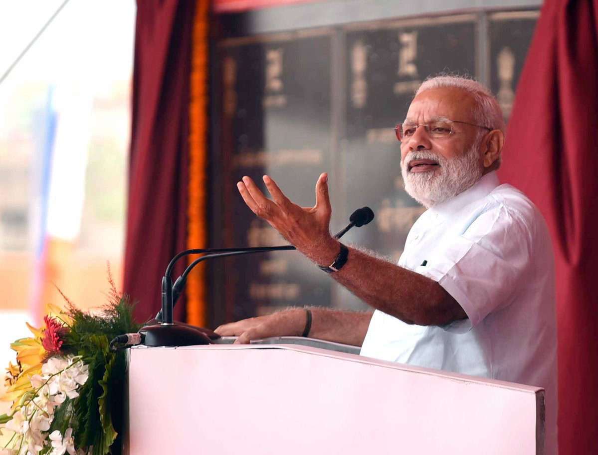 Prime Minister Narendra Modi addressing the gathering at a function, in Sahibganj, Jharkhand