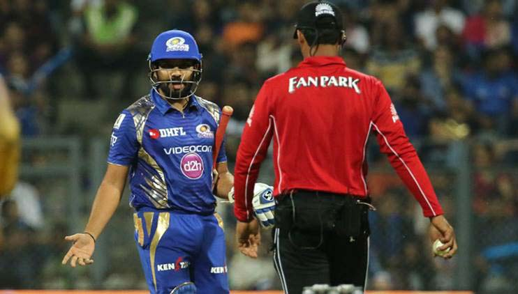 Rohit showed his disappointment with the umpire's leg before wicket decision