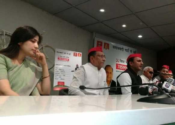 Akhilesh Yadav and Dimple Yadav During the press conference