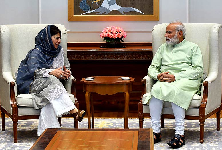 Jammu and Kashmir CM Mehbooba Mufti meets Pm Modi