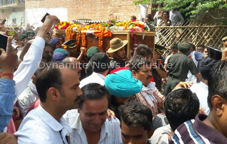 Last rites of Captain Ayush Yadav