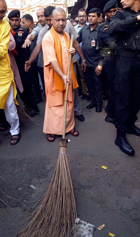 Uttar Pradesh Chief Minister Yogi Adityanath on Saturday wielded the broom and undertook a cleanliness drive