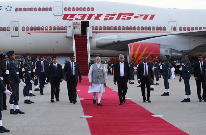 Prime Minister Narendra Modi arrives at Sri Lanka