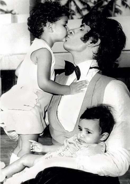 Amitabh Bachchan with his children Abhishek and Shweta