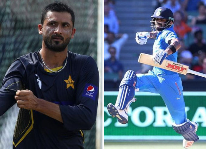 Pakistan bowler Junaid Khan and India captain Virat Kohli