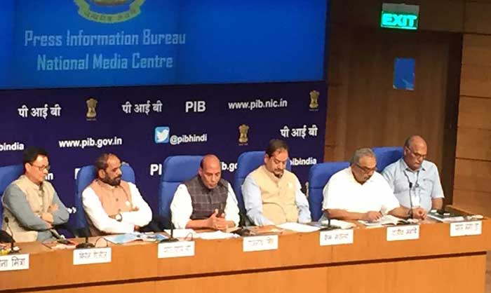 Home Minister Rajnath Singh addressing Press Conference in New Delhi