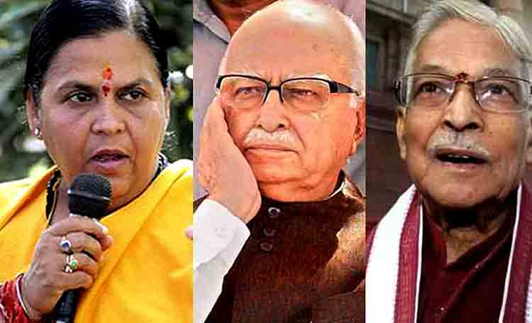 Uma Bharti, L. K. Advani and M. M. Joshi  (File Photo)
