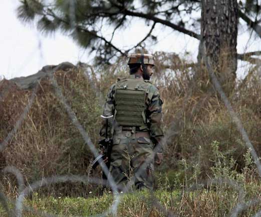 An Army jawan patrolling at the Line of Control (LoC) in Jammu and Kashmir