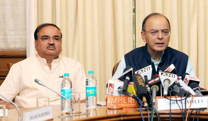 Finance Minister Arun Jaitley along with the Union Minister Ananth Kumar holds a press conference