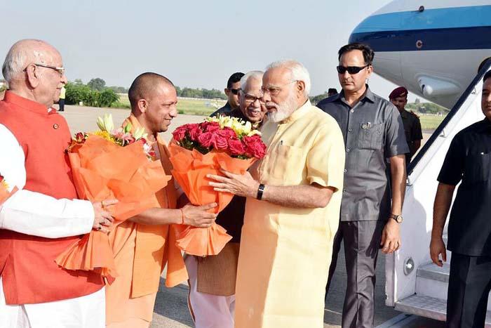 Image result for Modi arrives in UP