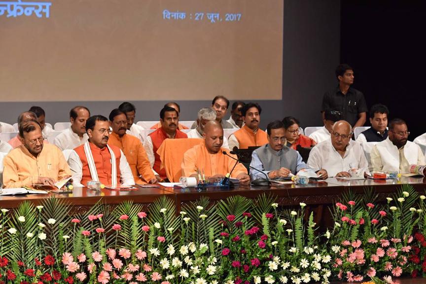 UP CM Yogi Adityanath addressing the media on 100 days of Yogi government