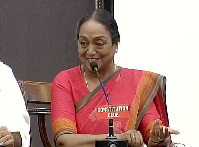 Opposition presidential candidate Meira Kumar addressing press conference