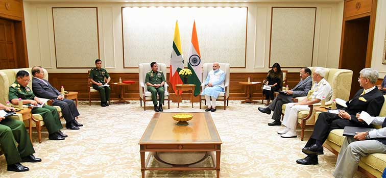 Myanmar's Defence Commander-in-Chief Senior General Min Aung Hliang meets Prime Minister Narendra Modi