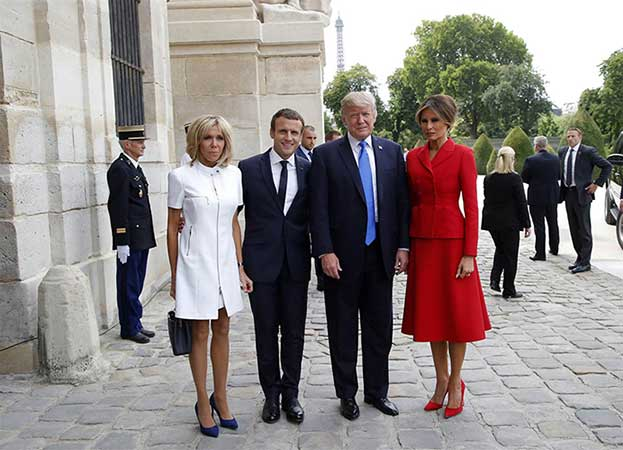US President Donald Trump,  French President Emmanuel Macron, and their wives