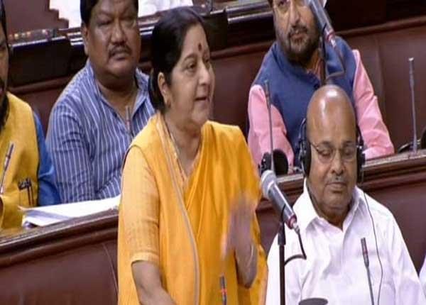 External Affairs Minister Sushma Swaraj  in Rajya Sabha