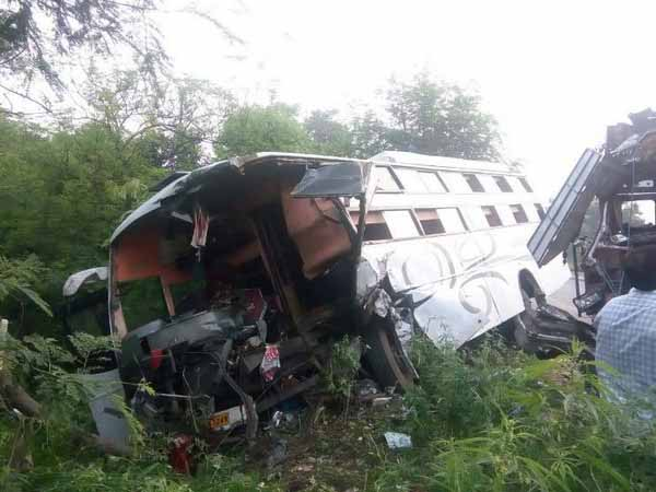 The bus which collided with a truck