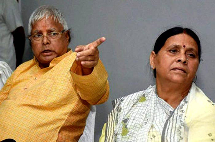 Lalu Prasad Yadav and his wife Rabri Devi