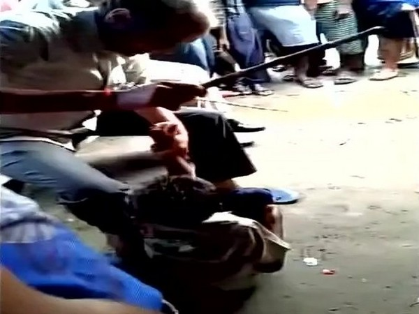 Police beating up a child