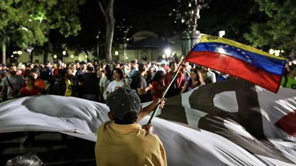 Government supporters celebrated the end of voting in Caracas