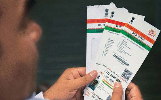 A view of man holding Aadhaar card (File Photo)
