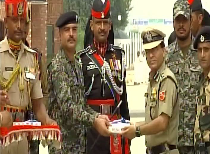 Sweets were exchanged at Wagah-Attari border  between BSF first line of defense and Pak Rangers