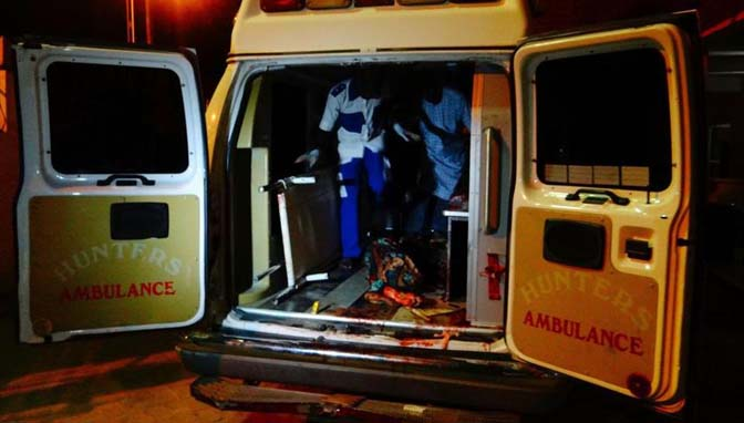 An Ambulance taking injured people to the hospital in Nigeria