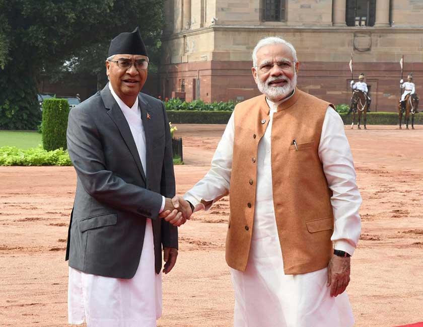Nepal Prime Minister Sher Bahadur Deuba and PM Narendra Modi