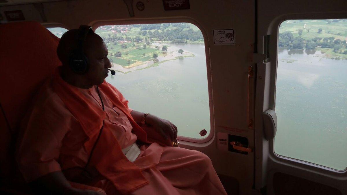 Uttar Pradesh Chief Minister Yogi Adityanath  undertook an aerial survey