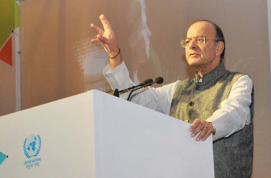 FM Jaitley while delivering the keynote address at the Conclave on Financial Inclusion organised by the UN