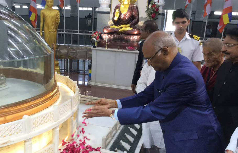 President Kovind paying his respects to Lord Buddha and to Babasaheb Ambedkar at Deeksha Bhoomi, Nagpur