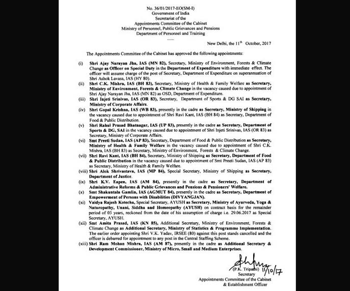 The list of appointment