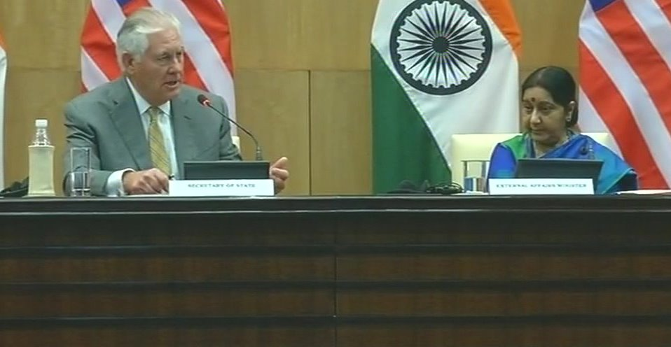 United States Secretary of State Rex Tillerson and External Affairs Minister Sushma Swaraj
