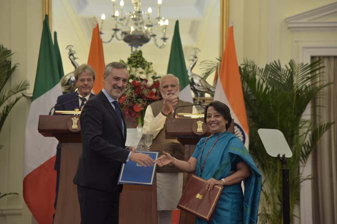 India and Italy signed six Memoranda of Understanding