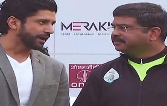 Petroleum Minister Dharmendra Pradhan and Farhan Akhtar