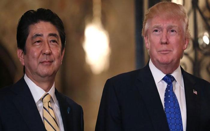 U.S President Donald Trump with Japanese Prime Minister Shinzo Abe