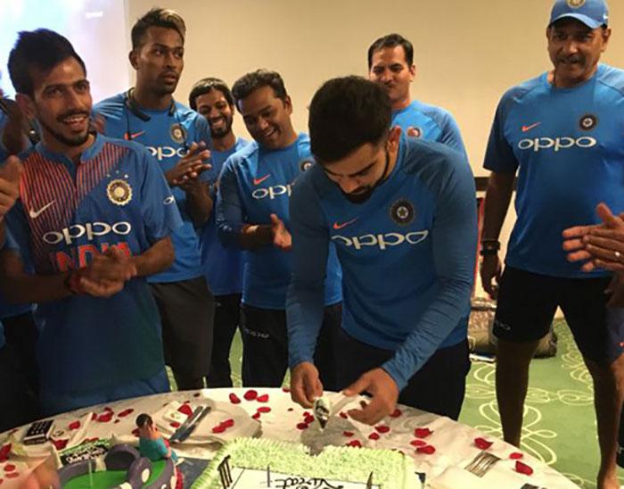 Indian Captain Virat Kohli celebrated his birthday Bush